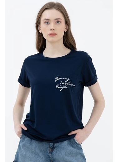 Sementa Rahat Kesim Cep Detaylı Baskılı Tshirt - Lacivert Lacivert